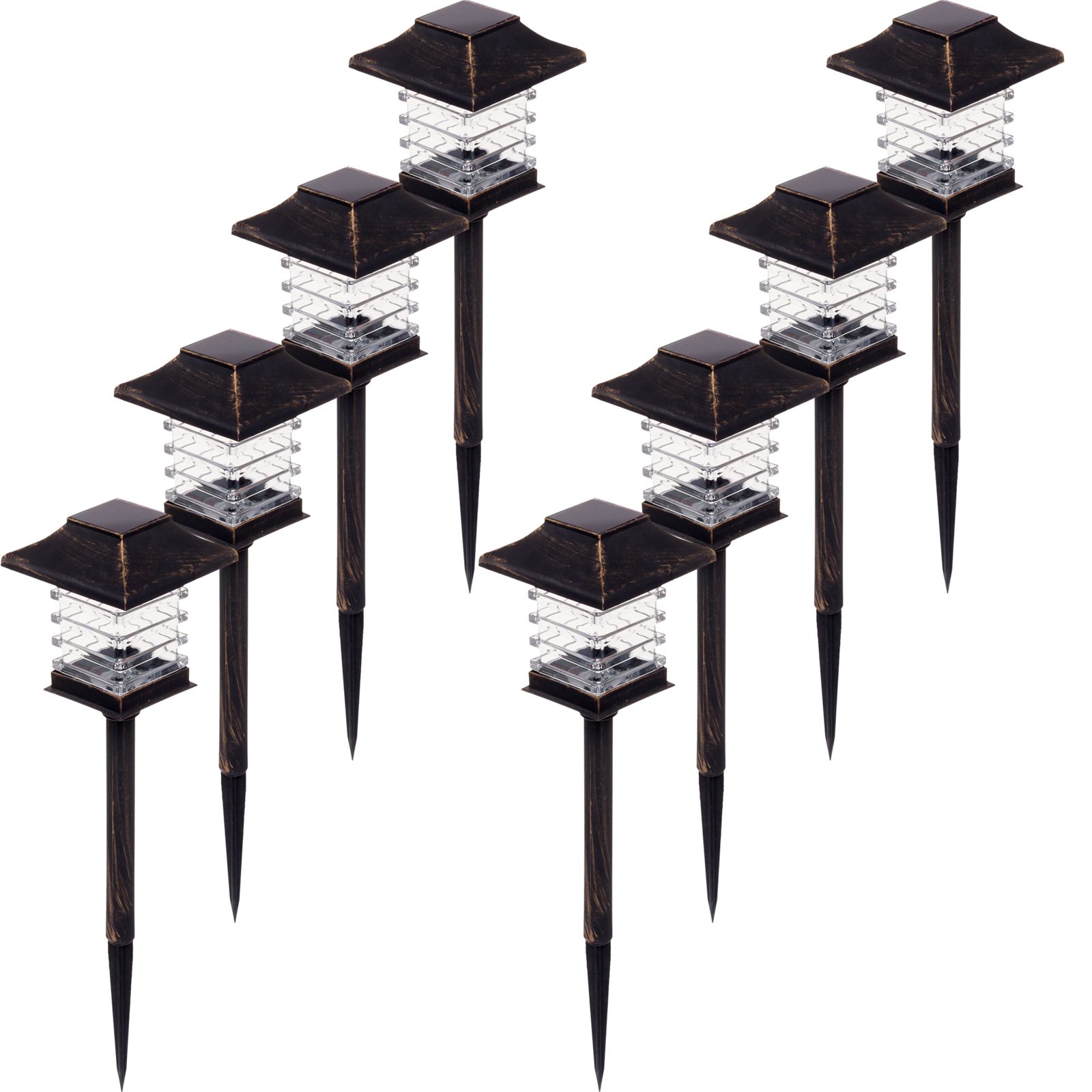 Greenlighting New Black w  Brushed Gold-Tone Solar LED Path Way Lights (8 Pack) by GreenLighting