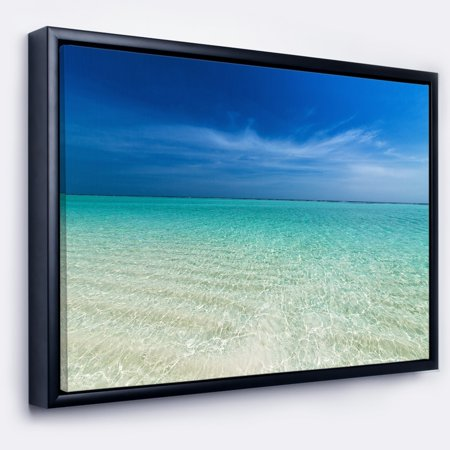 DESIGN ART Designart 'Turquoise Ocean Under Blue Sky' Modern Seascape Framed Canvas -
