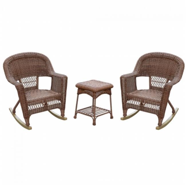 Jeco W00208_2-RCES018 Santa Maria Espresso Rocker Wicker Chair Set with Cushions, Red - 3 Piece