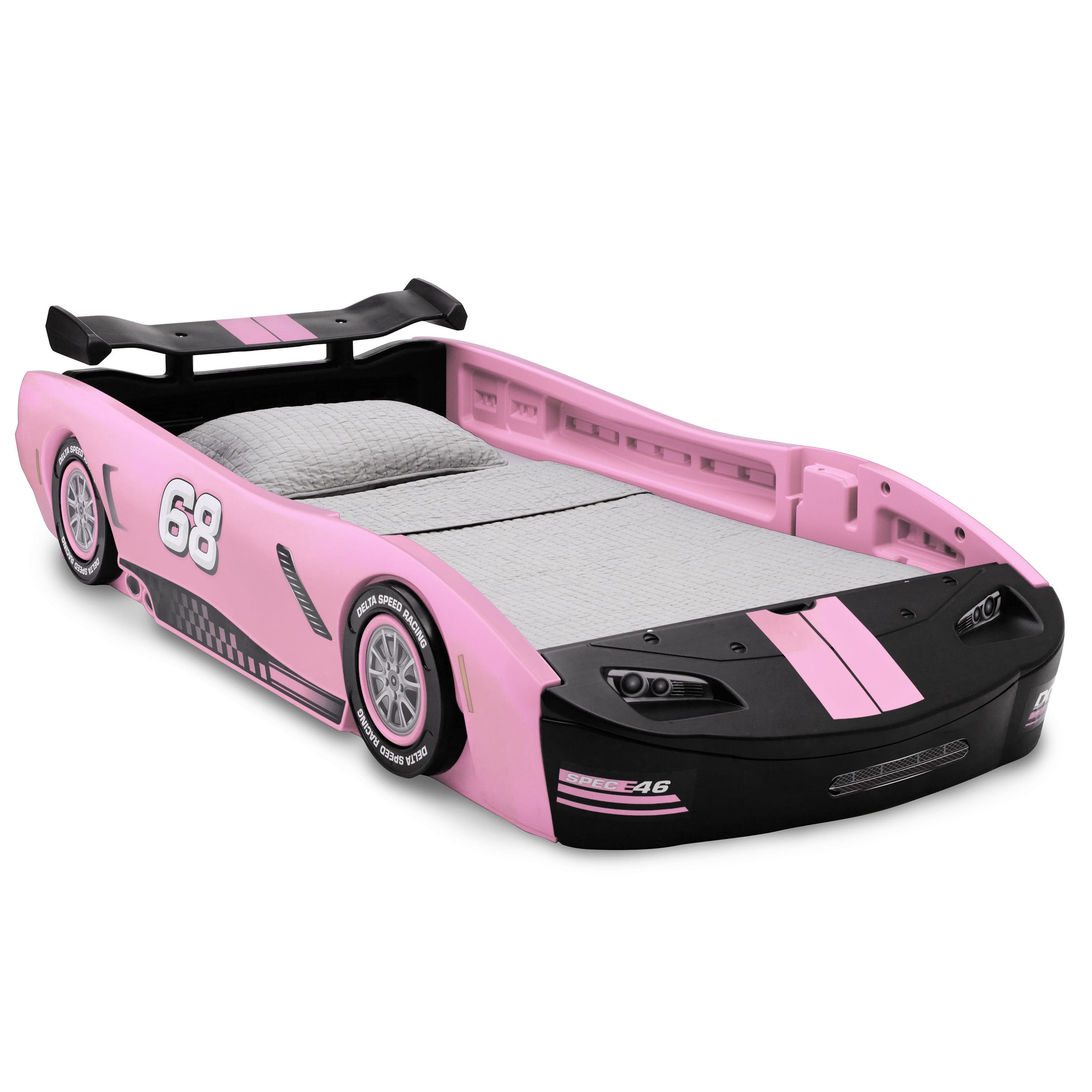 Picture of: Delta Children Turbo Race Car Twin Bed Pink Walmart Com Walmart Com