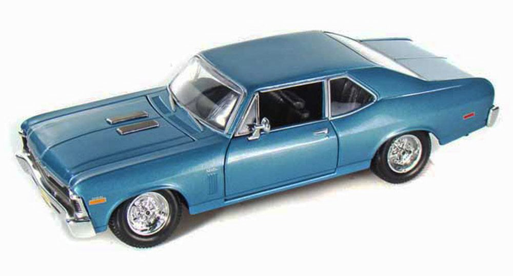 1970 Chevrolet Nova SS Coupe Hard Top, Blue Maisto 31262 1 24 Scale Diecast Model Toy Car by Maisto