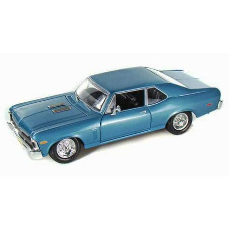 1970 Chevrolet Nova SS Coupe Hard Top, Blue - Maisto 31262 - 1/24 Scale Diecast Model Toy - Chevrolet Nova Coupe