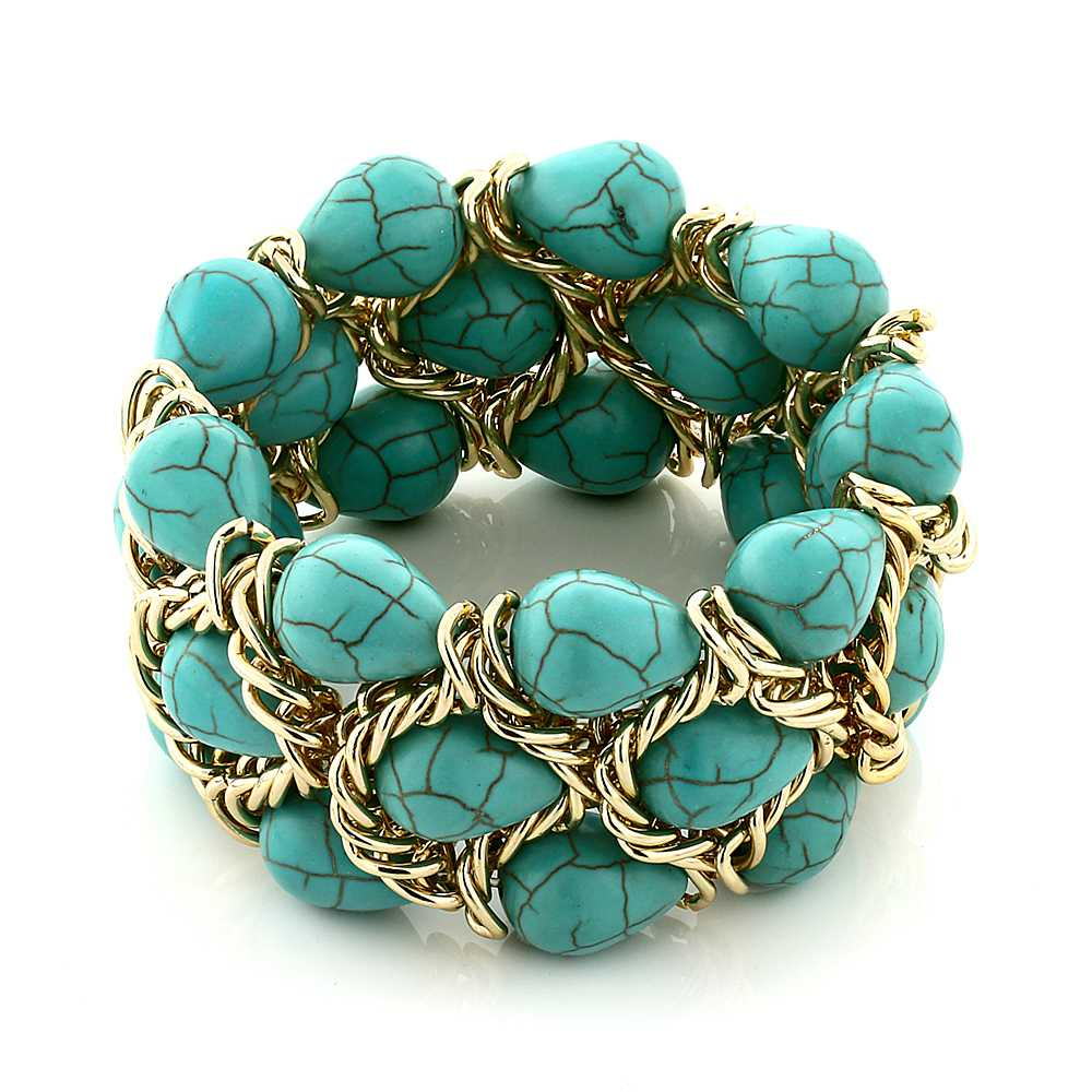 Triple Strands Simulated Turquoise & Gold Color Mesh 7 Inch Strech Bracelet