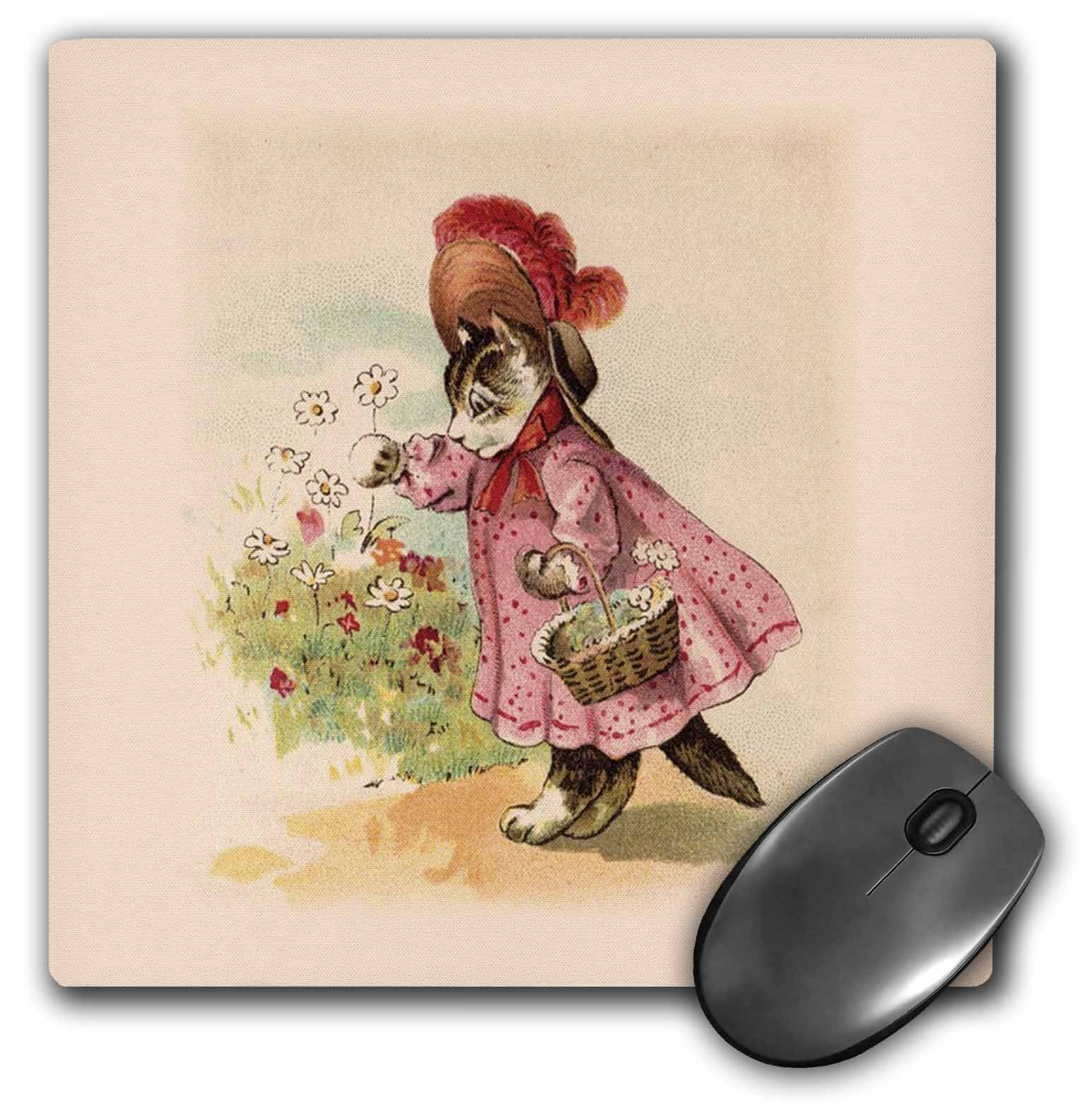 3dRose Cute Victorian Cat In Pink Dress, Mouse Pad, 8 by 8 inches