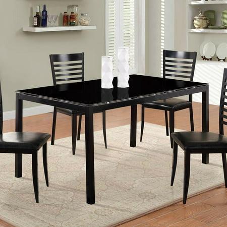 global furniture dining table w black glass top. Black Bedroom Furniture Sets. Home Design Ideas