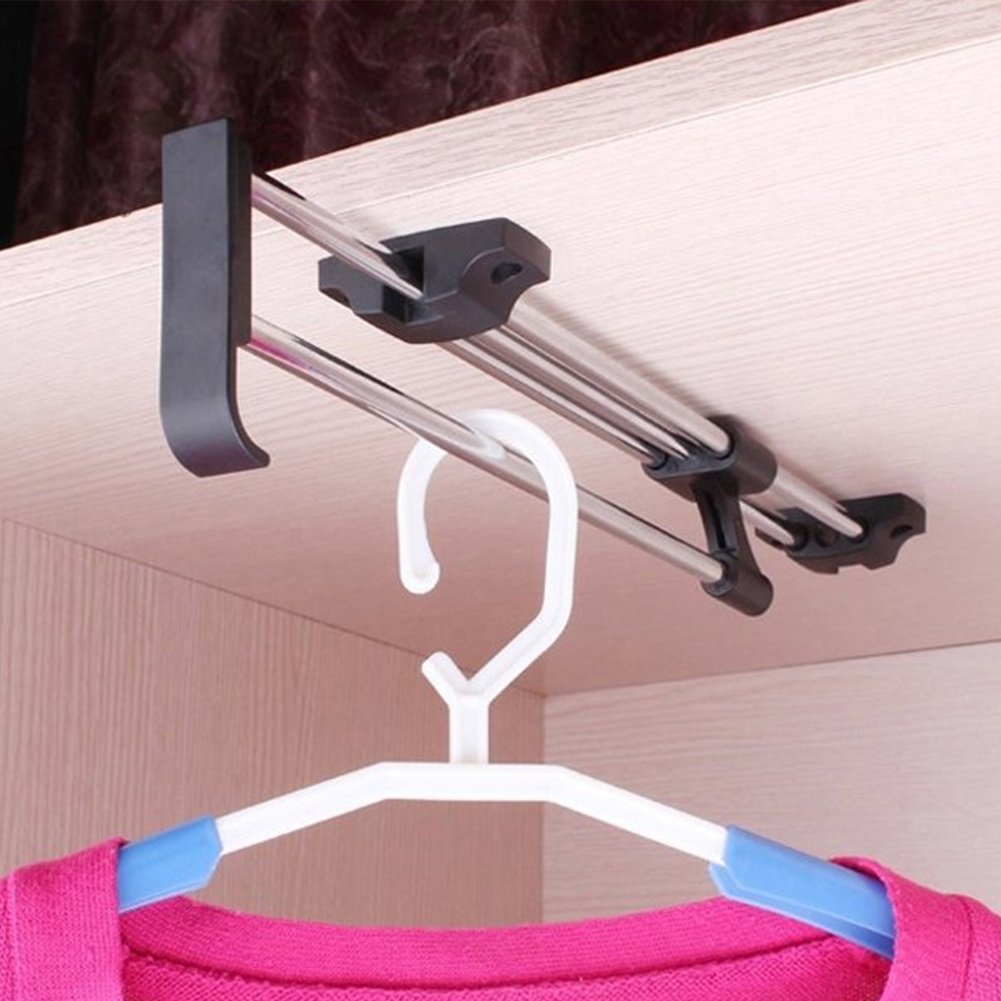 40cm/ 15.7 Inches Heavy Duty Retractable Closet Pull Out Rod Wardrobe  Clothes Hanger Rail Towel Ideal For Closet Organizer Polished Chrome    Walmart.com