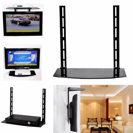 Floating Glass Shelf Wall Mount Bracket TV Stand Support Holder Above Under  TV TV Stands & Brackets Component Cable Box DVR DVD Stand