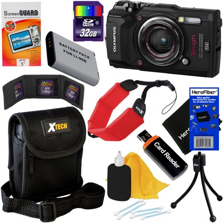 Digital Cameras Gps - Olympus Tough TG-5 Waterproof, Shockproof, Freezeproof & Crushproof Wi-Fi Digital Camera with GPS & HD 4K Video (Black) + Battery + 9pc 32GB Accessory Kit w/HeroFiber Cloth