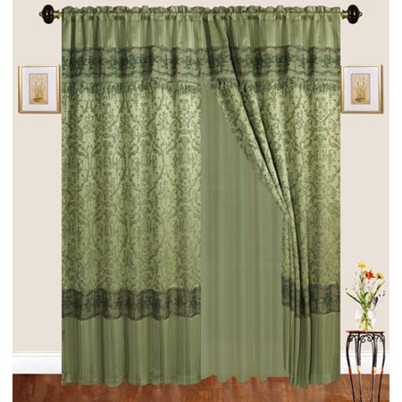 Luxury Jacquard Curtains Sage Green Window Panels With Backing Valance And Tie Backs Emma D122
