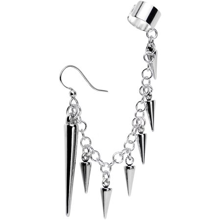 Body Candy Handcrafted Silver Plated Studded Spike Fish Hook Earring to Ear Cuff Chain Set (Spike Cuff)