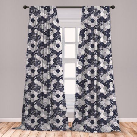 Navy Blue Curtains 2 Panels Set, Octagon Patchwork Style Pattern Image with Dots Stars Squares and Stripes, Window Drapes for Living Room Bedroom, Navy and White, by Ambesonne Amy Dot Stripe
