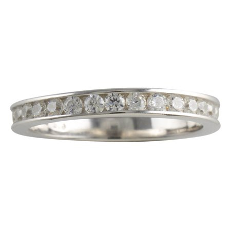 Sterling Silver Princess Cut CZ Womens Eternity Band 925 Ladies Ring Size 5