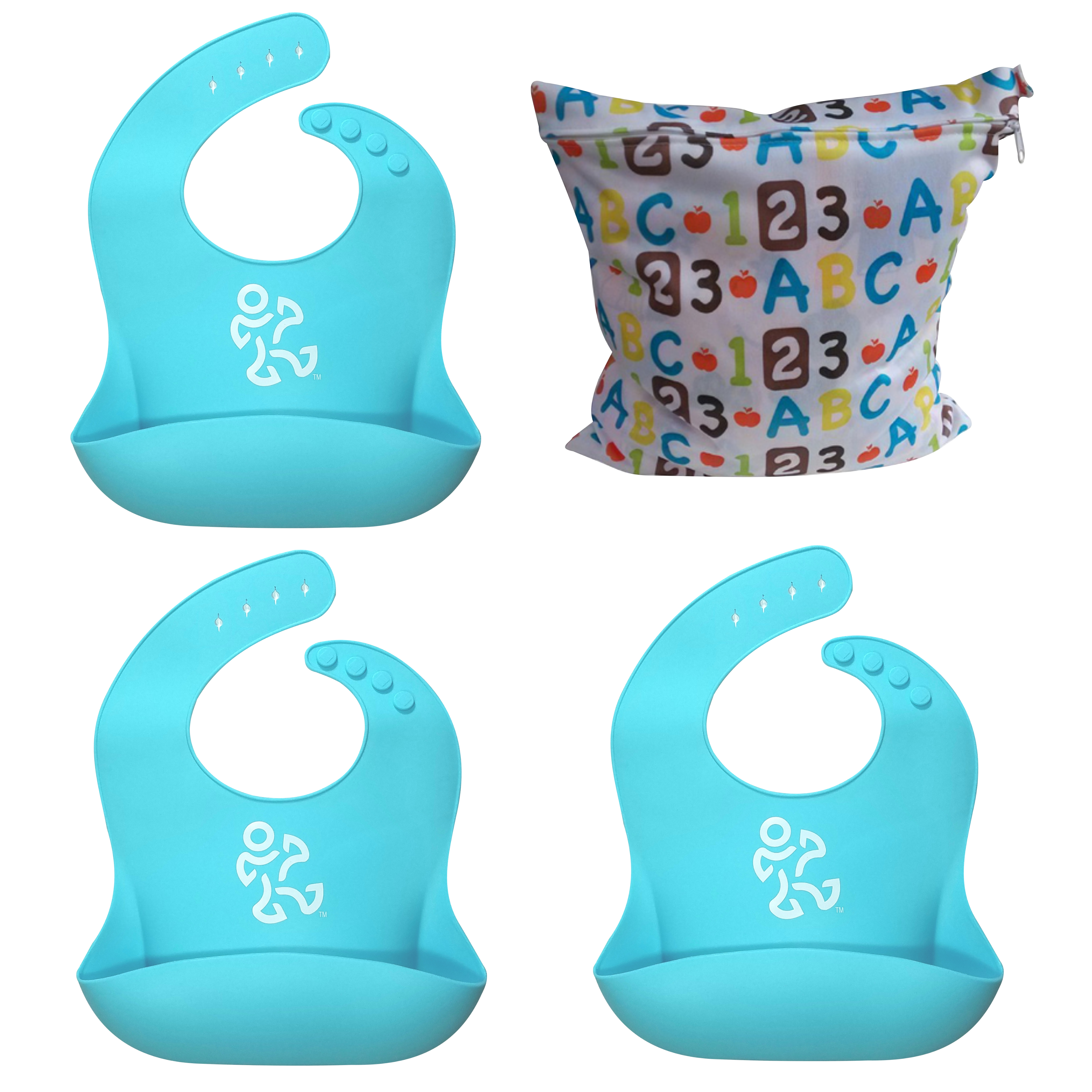 Waterproof Silicone Baby Bib Easily Wipes Clean! Big Pocket Keeps Stains Off! Pack of 3 Bibs and Wet/Dry Snack Bag