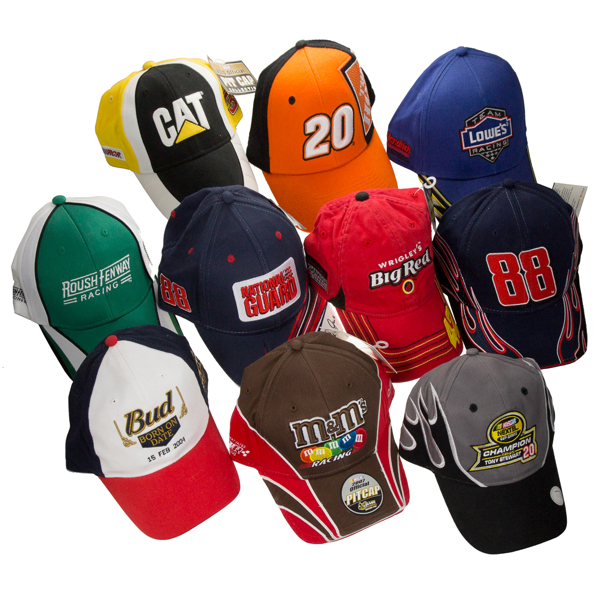 Lot of 10 Assorted Random NASCAR Hats Racing Caps Adjustable Size Bulk Wholesale