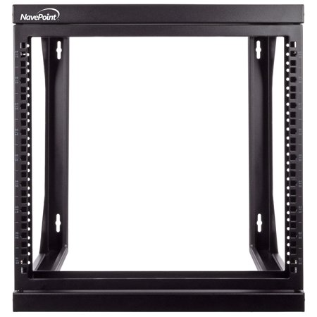NavePoint 9U Wall Mount IT Open Frame 19 Inch Rack with Swing Out Hinged Gate -