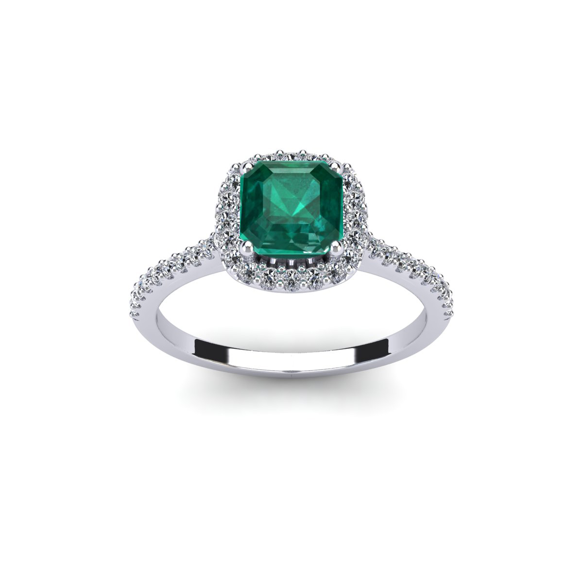 SuperJeweler 1 1/2 Carat Cushion Cut Emerald and Halo Dia...