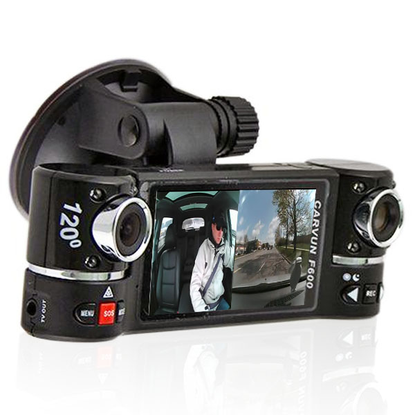 """Indigi® F600 Dual Rotating (Front+Rear) Driving Recorder DVR with 2.7"""" Split LCD"