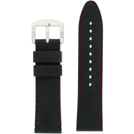 463f2ceb3cc Tech Swiss - High Quality 22mm Watch Band Silicon Rubber Black Red Stitching  Waterproof - Walmart.com