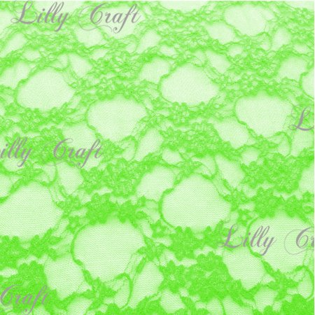 Neon Green Giselle STRETCH Lace 58 Inch Fabric Sold by the Yard