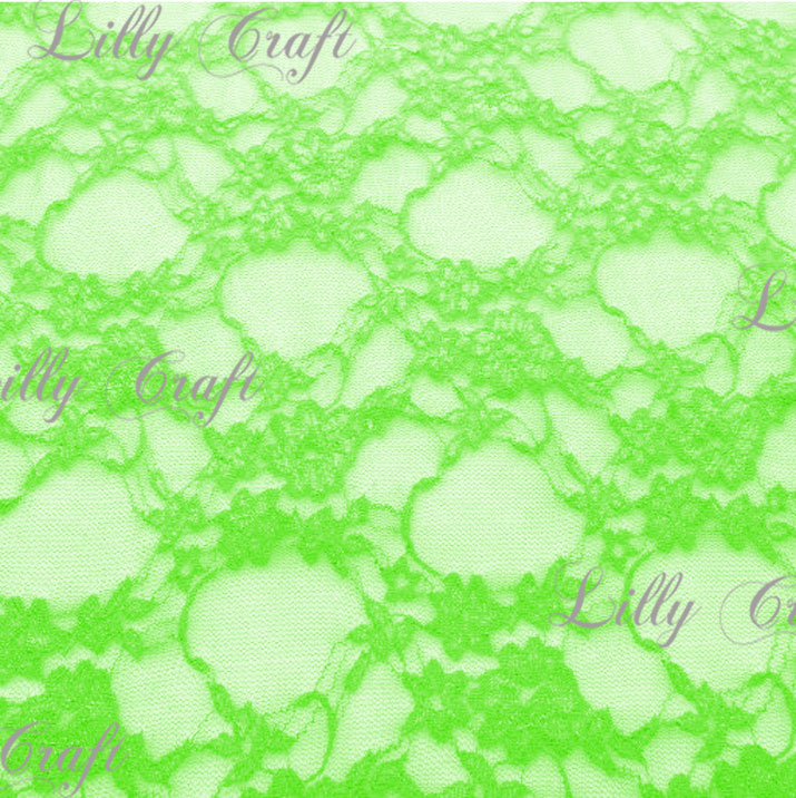 Neon Green Giselle STRETCH Lace 58 Inch Fabric 15 Yard Bold