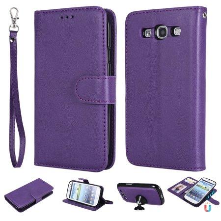 - Galaxy S3 Case Wallet, S3 Case, Allytech Premium Leather Flip Case Cover & Card Slots Pocket, Wrist Design Detachable Slim Case for Samsung Galaxy S3 S III I9300 GS3 (Purple)