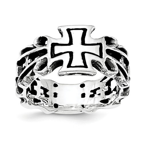 Sterling Silver Antiqued Cross Ring