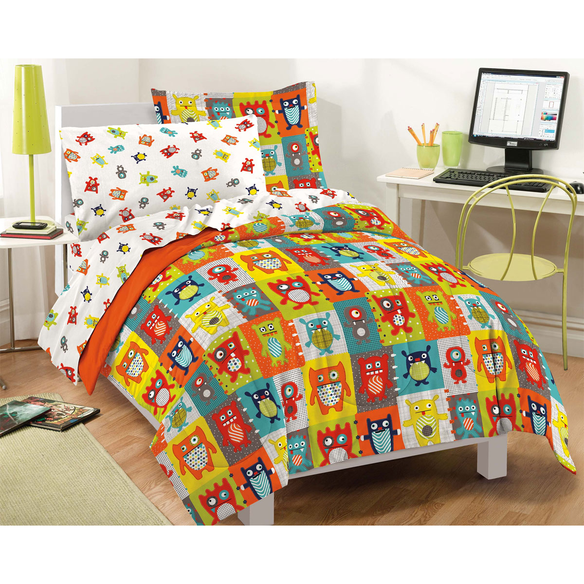 dream factory silly monsters mini bed in a bag bedding set  - dream factory silly monsters mini bed in a bag bedding set  walmartcom