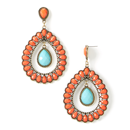 Lux Accessories Coral Turquoise Inset Teardrop Earrings