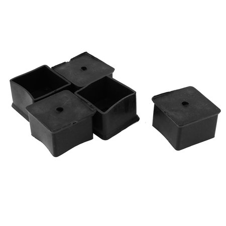 40mmx40mm Square Furniture Leg Protection Rubber Chair Feet Ferrules Black 5P