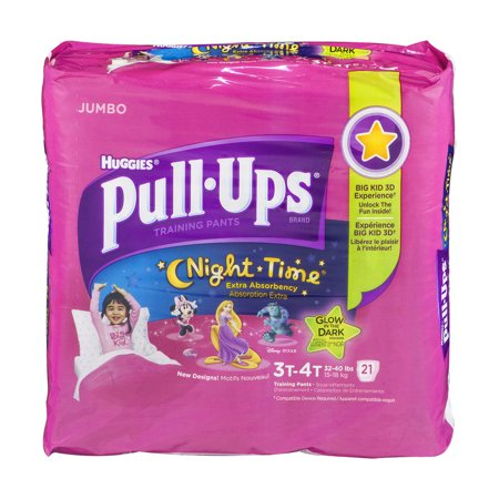 Huggies Pull Ups Disneytraining Pants Night Time Glow In The Dark Size 3T 4T   21 Ct