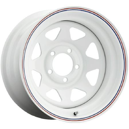 "15"" Inch Pacer 310W Spoke Trailer 15x6 5x4.75"" +0mm White Wheel Rim"