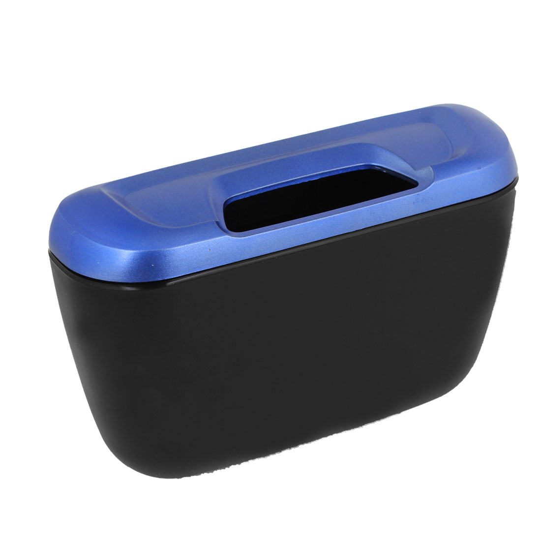 Home Office Vehicle Car Plastic Handle Open Garbage Trash Can Blue Black
