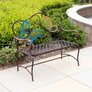 Alpine Corporation Butterfly Outdoor Patio Garden Bench, Bronze