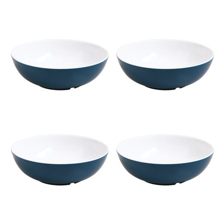 Mainstays Melamine Mix and Match Blue 4-Pack Cereal Bowls Black Handle Round Bowl