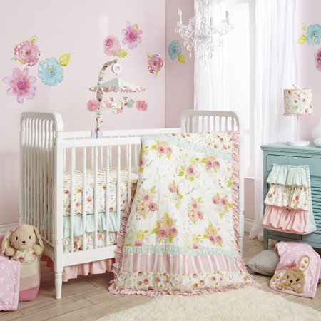 Lambs & Ivy Sweet Spring Pink/White/Green Floral 6-Piece Baby Crib Bedding Set - Floral Toile Crib
