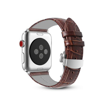 For Apple Watch Band 42mm Genuine Leather Replacement Strap Wrist Bands Buckle For Apple Watch Series 3 / 2 / 1 Brown Leather Watch Strap Plated Buckle