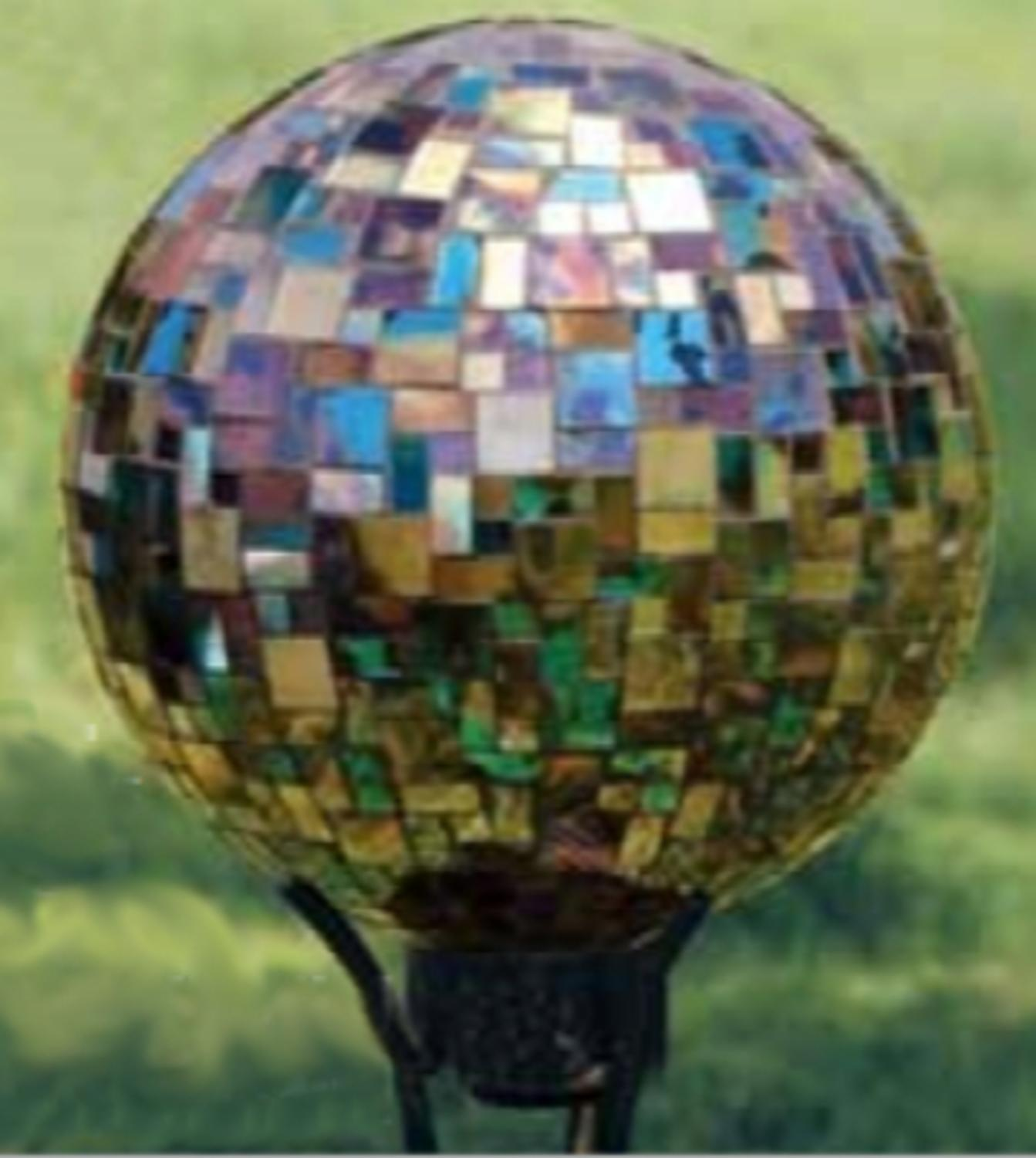 "10"" Blue and Brown Deco Art Glass Mosaic Outdoor Patio Garden Gazing Ball by CC Outdoor Living"