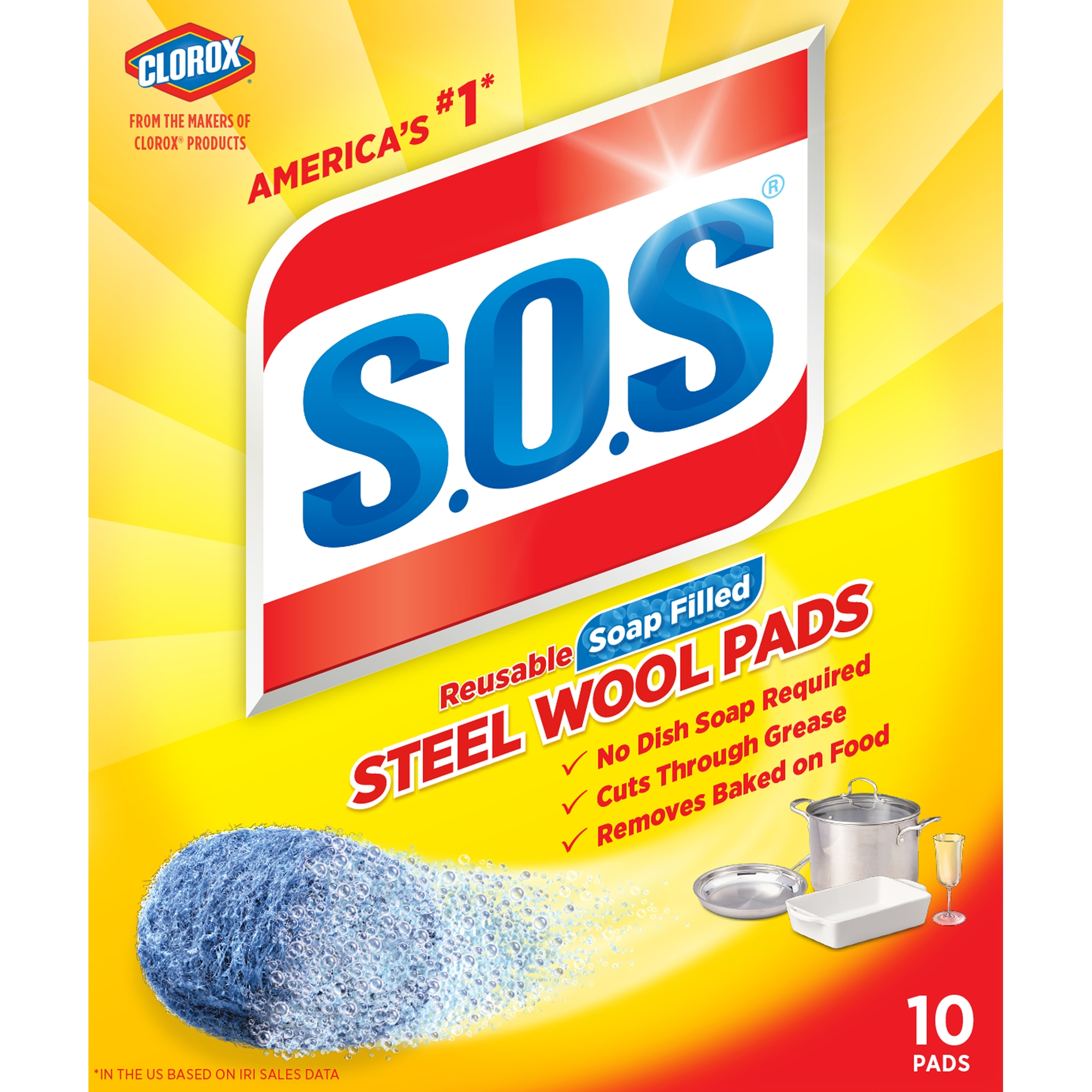S.O.S Steel Wool Soap Scrubber Sponge Pads, 10 ct