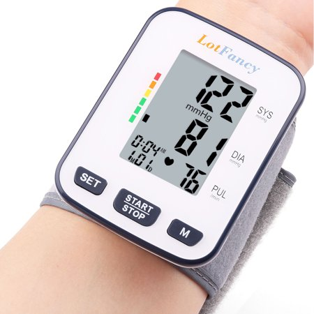 Cuff Display - Automatic Digital Wrist Blood Pressure Cuff Monitor with Portable Case by LotFancy, Large LCD Display, FDA Approved, Perfect Device for Home Use