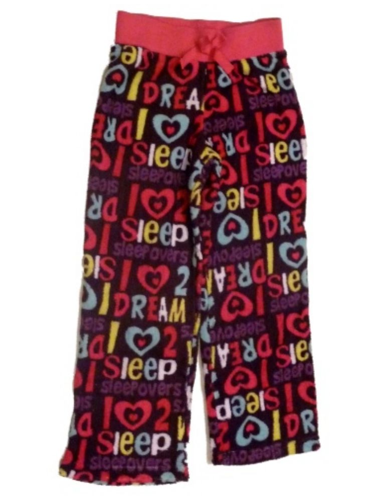 Jellifish Girls Purple Fleece Hearts & Words Sleep Pants Heart Pajama Bottoms