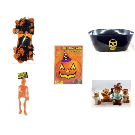 Halloween Fun Gift Bundle [5 Piece] -  Black & Orange Pumpkin Garland 10 ft. - Black With Skeleton Oval Party Tub - Darice Pumpkin Face Fun Felt Kit - Witch - Hanging Skeleton Orange - Homco  Set No