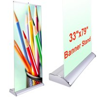 "Deluxe 33""x79"" Retractable Rollup Banner Stand Trade Show Display Sign Holder Exhibition Promotion Aluminum Structure"