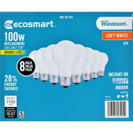 EcoSmart 100-Watt Equivalent A19 Dimmable Double Life Eco-Incandescent Light Bulb, Soft White (8-Pack)