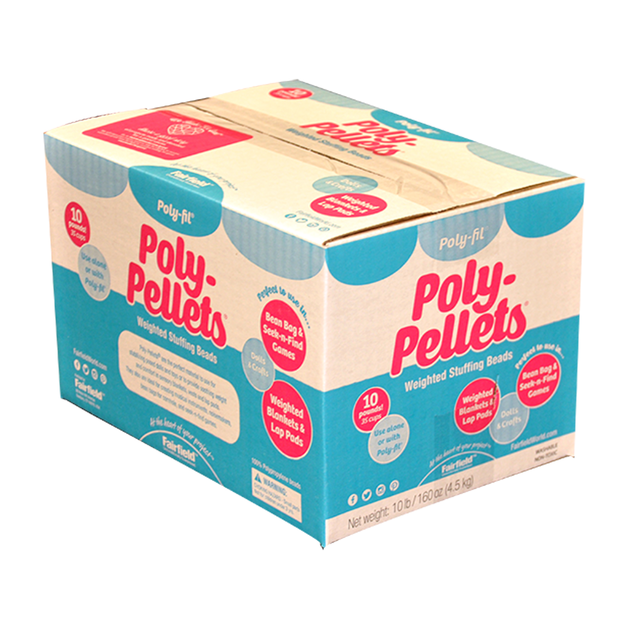 Poly-Fil Poly-Pellets Weighted Stuffing Beads, 10lb Box