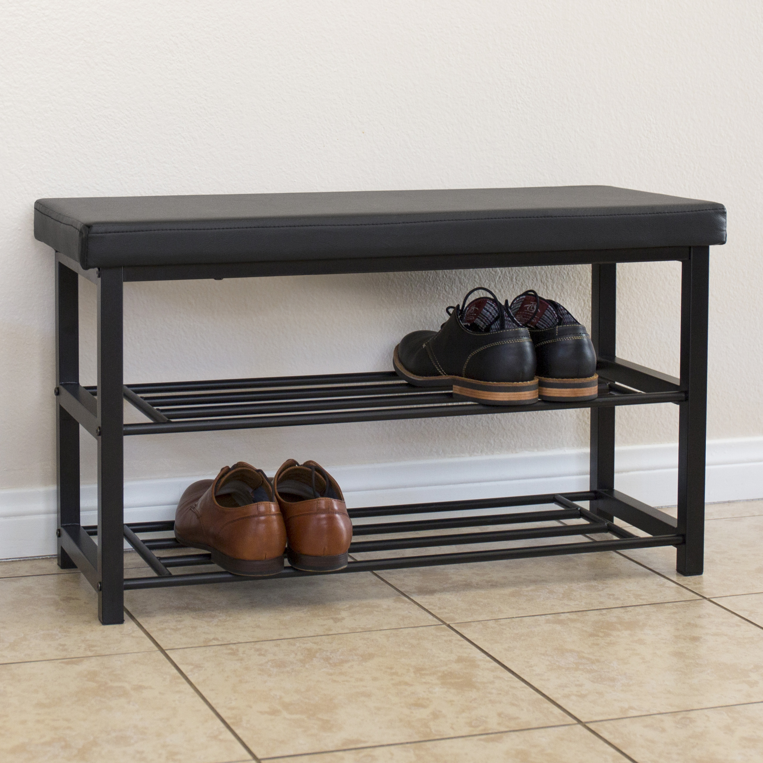 Best Choice Products 2-Tier Metal Storage Bench Shoe Rack Organize W  Leather Top- Black by Best Choice Products