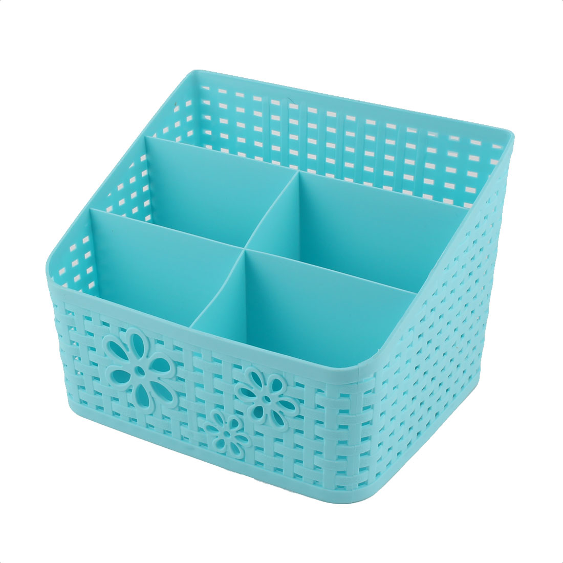 Office Table Desk Plastic 5 Slots Storage Box Organizer Container Blue