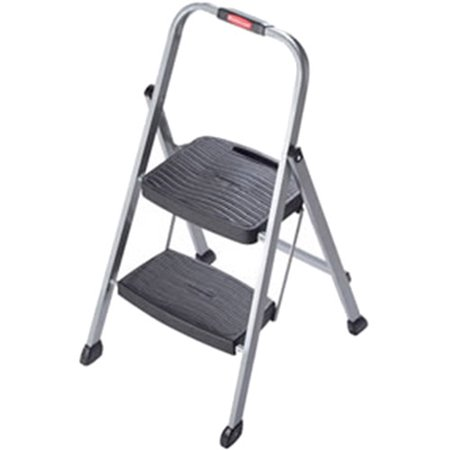 Groovy Rubbermaid Folding 2 Step Steel Frame Stool With Hand Grip And Plastic Steps 200 Pound Capacity Silver Finish Short Links Chair Design For Home Short Linksinfo
