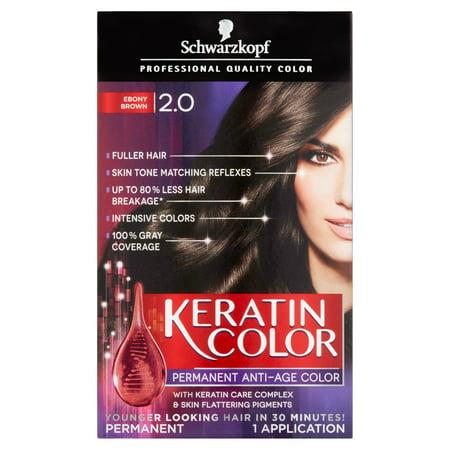 Schwarzkopf Keratin Color Anti Age Hair Color Kit  2 0 Ebony Brown