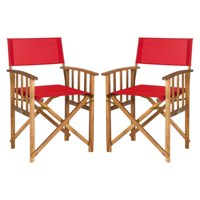 Safavieh Laguna Outdoor Patio Director Chair, Set of 2 - Natural/Red