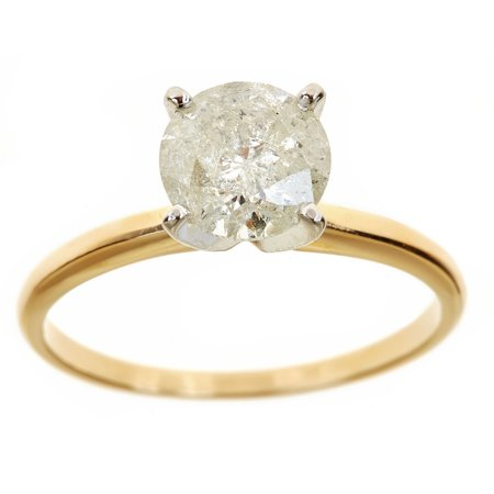 3/8 Carat Round Diamond Solitaire - 1.75 Carat T.W. Round White Diamond 14kt Yellow Gold Solitaire Ring, IGL certified